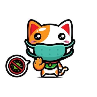 Süße katze, die eine maske mit einer stop-virus-pose trägt