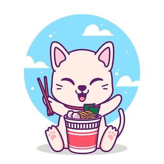 Süße katze, die eine tasse nudeln isst