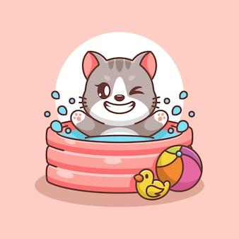 Süße katze, die in einem aufblasbaren pool spielt