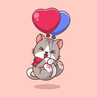 süße katze, die mit ballonkarikatur schwimmt