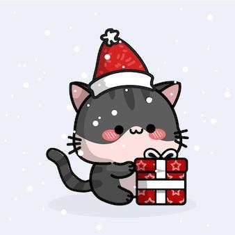 Süße katze, die weihnachten feiert