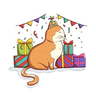 Süße katze feiert eine geburtstagsfeier im doodle-stil
