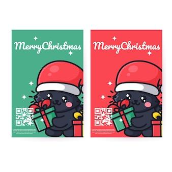 Süße katze feiert weihnachten neujahr