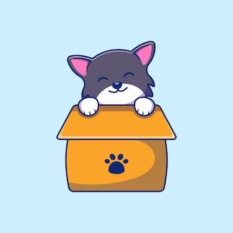 Süße katze in einem box-illustrationsdesign
