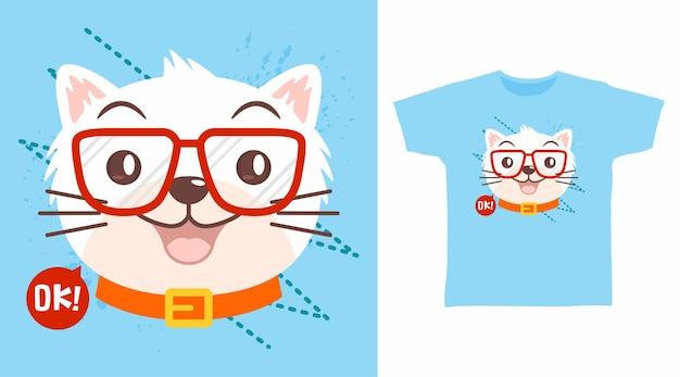 Süße katze mit brillen-t-shirt-design