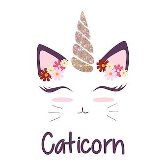 Süße katze mit einhorn horn und blume