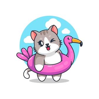 Süße katze mit flamingo-schwimmring-cartoon