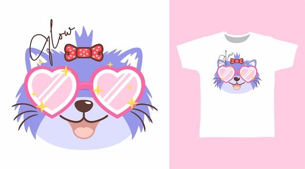 Süße katze mit liebesbrillen-t-shirt-design