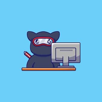 Süße katze mit ninja-kostüm, das vor computer arbeitet