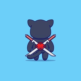 Süße katze mit ninja-kostüm von der rückseite