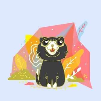 Süße katze mit polygonalem design