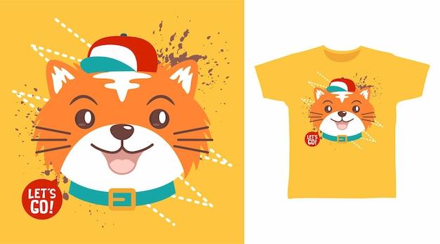 Süße katze mit rotem hut-t-shirt-design