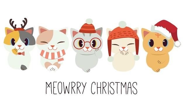 Süße katze mit zubehör des weihnachtsthemas im flachen stil. illustration