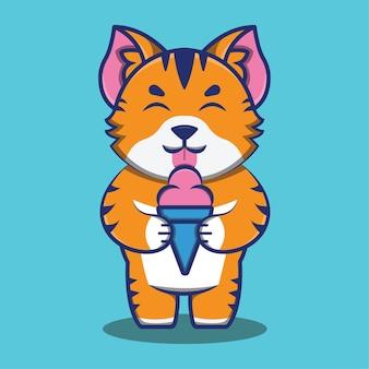 Süße katze oder kätzchen, die eiscreme-cartoon-illustration isst