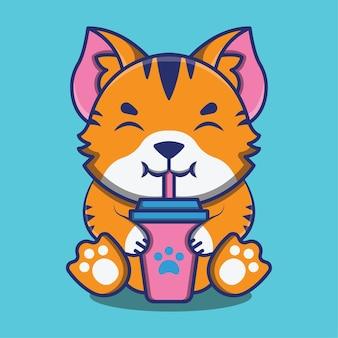 Süße katze oder kätzchen trinken alkoholfreies getränk cartoon-illustrationen