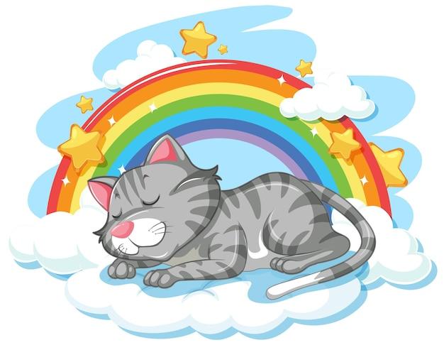 Süße katze schläft auf der wolke mit regenbogen