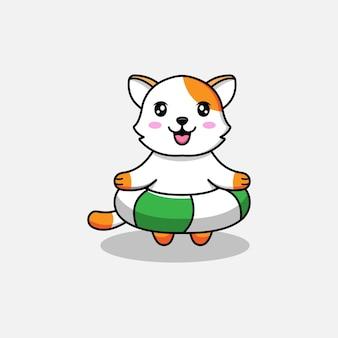 Süße katze schwimmt mit einer boje