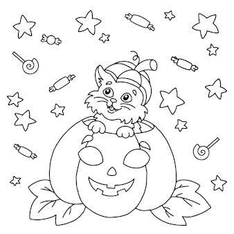 Süße katze sitzt in einem kürbis halloween thema malbuchseite für kinder