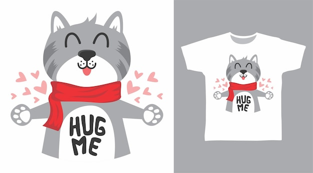 Süße katze umarm mich t-shirt-design