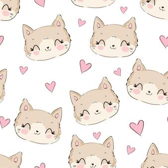 Süße katze und herz süße skizze nahtlose muster