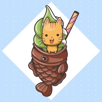 Süße katze und taiyaki-eis-cartoon3