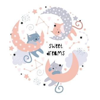 Süße katzen auf dem mond. süße träume.