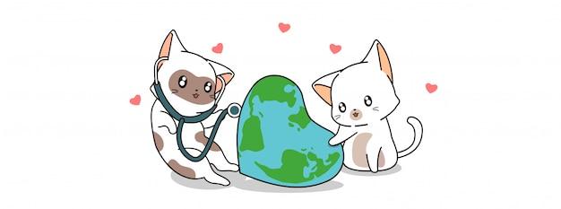 Süße katzen kümmern sich um die erde