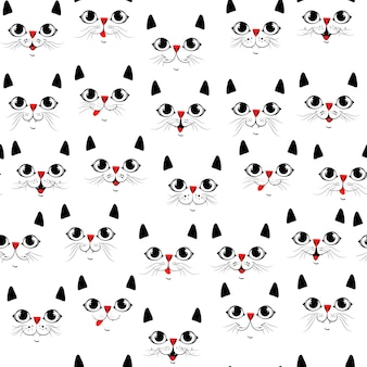 Süße katzen. nahtloses muster der karikatur. vektor-eps 10