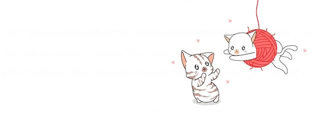 Süße katzen sind glücklich mit garn
