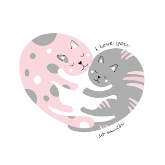 Süße katzen. umarmung. ein herz. ich liebe dich über alles.