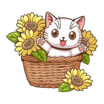 Süße katzen- und sonnenblumenkarikatur kleine süße weiße kätzchen waren in einem mit sonnenblumen geschmückten korb