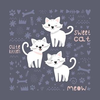 Süße katzen. vektorhintergrund für kinder. postkarte, poster, kleidung, stoff, geschenkpapier, textilien.