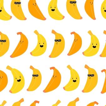 Süße kawaii bananenfrucht nahtloses muster obst mit lächelnmuster stock-vektorgrafiken
