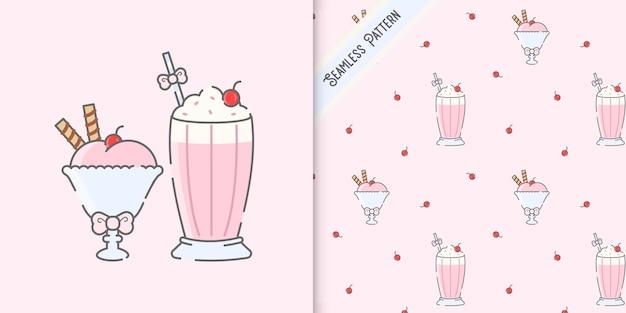 Süße kawaii desserts illustration und nahtloser muster-premium-vektor
