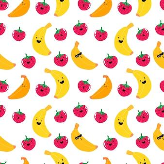 Süße kawaii erdbeere und bananenfrucht nahtloses muster fruchtbeerenmuster s