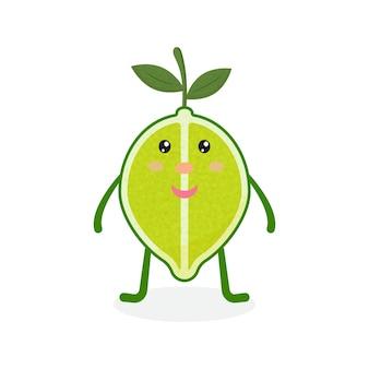Süße kawaii lime cartoon reife frucht vektor-illustration von cartoon green lime