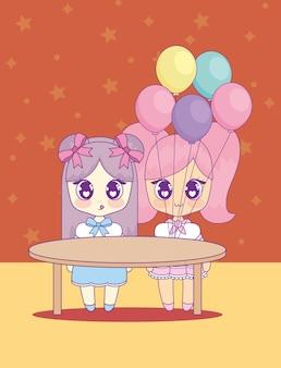 Süße kawaii mädchen mit helium charakter ballons