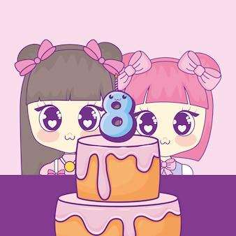 Süße kawaii mädchen mit kuchen geburtstagskarte