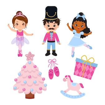 Süße kinder, die sich in ballerina und weihnachts-nussknacker-kollektion kleiden