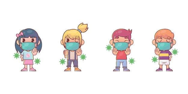 Süße kinder, die vor dem virus-cartoon geschützt sind