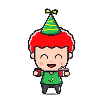Süße kinder feiern geburtstagskarikaturillustration