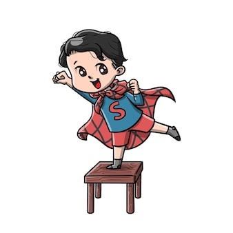 Süße kinder spielen superhelden-karikatur
