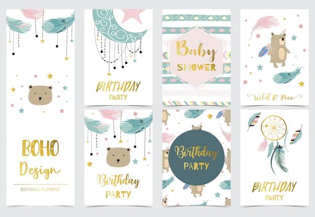 Süße kinderpostkarten mit traumfänger