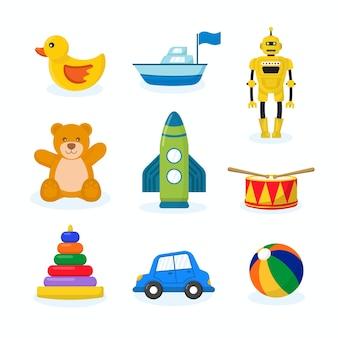 Süße kinderspielzeugsammlung