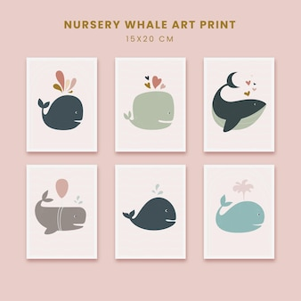 Süße kinderzimmer kunst abstrakte poster kunst handgezeichnete formen abdeckungen set mit tierwal