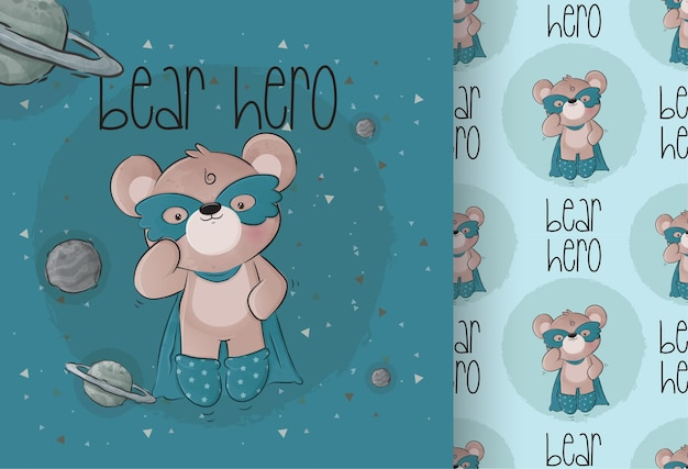 Süße kleine bären-superhelden auf dem weltraum mit nahtlosem muster