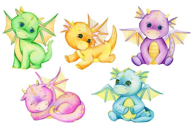 Süße kleine drachen, verschiedene farben. aquarelle, fantastische tiere im cartoon-stil.