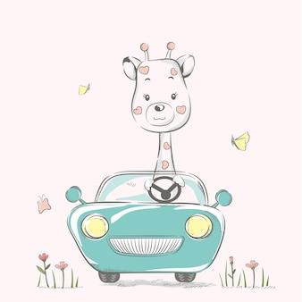 Süße kleine giraffe mit auto cartoon