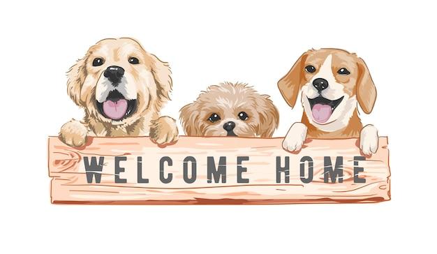 Süße kleine hunde mit willkommenshaus-holzzeichen-vektorillustration