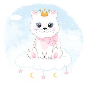 Süße kleine katze, die auf der wolke sitzt